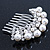 Bridal/ Wedding/ Prom/ Party Dome Shaped Rhodium Plated White Simulated Pearl Bead and Swarovski Crystal Hair Comb - 65mm - view 2