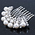 Bridal/ Wedding/ Prom/ Party Dome Shaped Rhodium Plated White Simulated Pearl Bead and Swarovski Crystal Hair Comb - 65mm - view 4