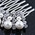 Bridal/ Wedding/ Prom/ Party Dome Shaped Rhodium Plated White Simulated Pearl Bead and Swarovski Crystal Hair Comb - 65mm - view 5