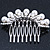 Bridal/ Wedding/ Prom/ Party Dome Shaped Rhodium Plated White Simulated Pearl Bead and Swarovski Crystal Hair Comb - 65mm - view 6
