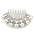 Bridal/ Wedding/ Prom/ Party Dome Shaped Rhodium Plated White Simulated Pearl Bead and Swarovski Crystal Hair Comb - 65mm - view 7