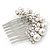 Bridal/ Wedding/ Prom/ Party Dome Shaped Rhodium Plated White Simulated Pearl Bead and Swarovski Crystal Hair Comb - 65mm - view 8