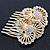 Bridal/ Wedding/ Prom/ Party Gold Plated Clear Swarovski Sculptured Double Flower Crystal Hair Comb - 65mm - view 3