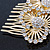 Bridal/ Wedding/ Prom/ Party Gold Plated Clear Swarovski Sculptured Double Flower Crystal Hair Comb - 65mm - view 4