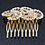 Bridal/ Wedding/ Prom/ Party Gold Plated Clear Swarovski Sculptured Double Flower Crystal Hair Comb - 65mm - view 6