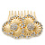 Bridal/ Wedding/ Prom/ Party Gold Plated Clear Swarovski Sculptured Double Flower Crystal Hair Comb - 65mm - view 2