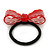 Red Acrylic Bow Pony Tail Hair Elastic/Bobble - 70mm Width - view 3