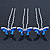 Bridal/ Wedding/ Prom/ Party Set Of 12 Silver Tone Sapphire Blue Coloured CZ Butterfly Hair Pins - view 4