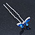 Bridal/ Wedding/ Prom/ Party Set Of 12 Silver Tone Sapphire Blue Coloured CZ Butterfly Hair Pins - view 6