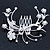 Bridal/ Wedding/ Prom/ Party Rhodium Plated Clear Swarovski Crystal Floral Hair Comb - 85mm - view 2