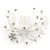 Bridal/ Wedding/ Prom/ Party Rhodium Plated Clear Swarovski Crystal Floral Hair Comb - 85mm - view 7