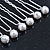 Bridal/ Wedding/ Prom/ Party Set Of 6 Rhodium Plated Crystal Simulated Pearl Hair Pins - view 3