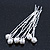 Bridal/ Wedding/ Prom/ Party Set Of 6 Rhodium Plated Crystal Simulated Pearl Hair Pins - view 4