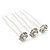 Bridal/ Wedding/ Prom/ Party Set Of 3 Rhodium Plated Crystal Simulated Pearl Rose Flower Hair Pins - view 8