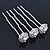 Bridal/ Wedding/ Prom/ Party Set Of 3 Rhodium Plated Crystal Simulated Pearl Rose Flower Hair Pins - view 3