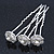 Bridal/ Wedding/ Prom/ Party Set Of 3 Rhodium Plated Crystal Simulated Pearl Rose Flower Hair Pins - view 2