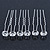 Bridal/ Wedding/ Prom/ Party Set Of 6 Rhodium Plated Crystal Bead Hair Pins