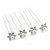 Bridal/ Wedding/ Prom/ Party Set Of 4 Rhodium Plated Crystal Simulated Pearl Flower Hair Pins - view 8