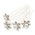 Bridal/ Wedding/ Prom/ Party Set Of 4 Rhodium Plated Crystal Simulated Pearl Flower Hair Pins - view 6