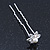 Bridal/ Wedding/ Prom/ Party Set Of 4 Rhodium Plated Crystal Simulated Pearl Flower Hair Pins - view 4