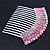 Rhodium Plated Pink/AB Gradient Swarovski Crystal Hair Comb - 60mm - view 4