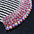 Rhodium Plated Pink/AB Gradient Swarovski Crystal Hair Comb - 60mm - view 3