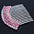 Rhodium Plated Pink/AB Gradient Swarovski Crystal Hair Comb - 60mm - view 5