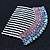 Rhodium Plated Purple/AB Gradient Swarovski Crystal Hair Comb - 60mm - view 2