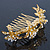 Bridal/ Wedding/ Prom/ Party Gold Plated Clear Swarovski Crystal Floral Hair Comb - 95mm - view 2