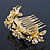 Bridal/ Wedding/ Prom/ Party Gold Plated Clear Swarovski Crystal Floral Hair Comb - 95mm - view 6