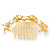 Bridal/ Wedding/ Prom/ Party Gold Plated Clear Swarovski Crystal Floral Hair Comb - 95mm - view 8