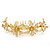 Bridal/ Wedding/ Prom/ Party Gold Plated Clear Swarovski Crystal Floral Hair Comb - 95mm - view 3