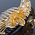 'Calla Lilly' Bridal/ Wedding/ Prom/ Party Gold Plated Clear Swarovski Crystal Floral Hair Comb - 100mm - view 4