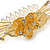 'Calla Lilly' Bridal/ Wedding/ Prom/ Party Gold Plated Clear Swarovski Crystal Floral Hair Comb - 100mm - view 8