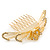 'Calla Lilly' Bridal/ Wedding/ Prom/ Party Gold Plated Clear Swarovski Crystal Floral Hair Comb - 100mm - view 9