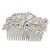 Statement Bridal/ Wedding/ Prom/ Party Rhodium Plated Clear Swarovski Sculptured Bow&Leaf Crystal Side Hair Comb - 11.5cm Width - view 8