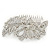 Statement Bridal/ Wedding/ Prom/ Party Rhodium Plated Clear Swarovski Sculptured Bow&Leaf Crystal Side Hair Comb - 11.5cm Width - view 5