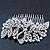 Statement Bridal/ Wedding/ Prom/ Party Rhodium Plated Clear Swarovski Sculptured Bow&Leaf Crystal Side Hair Comb - 11.5cm Width