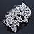 Statement Bridal/ Wedding/ Prom/ Party Rhodium Plated Clear Swarovski Sculptured Bow&Leaf Crystal Side Hair Comb - 11.5cm Width - view 3