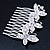 Bridal/ Wedding/ Prom/ Party Rhodium Plated Clear Swarovski Crystal Butterfly Hair Comb - 75mm - view 3