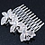 Bridal/ Wedding/ Prom/ Party Rhodium Plated Clear Swarovski Crystal Butterfly Hair Comb - 75mm - view 5