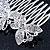 Bridal/ Wedding/ Prom/ Party Rhodium Plated Clear Swarovski Crystal Butterfly Hair Comb - 75mm - view 6
