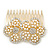 Bridal/ Wedding/ Prom/ Party Gold Plated Clear Austrian Sculptured Double Flower Crystal/Simulated Pearl Hair Comb - 75mm - view 3