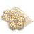 Bridal/ Wedding/ Prom/ Party Gold Plated Clear Austrian Sculptured Double Flower Crystal/Simulated Pearl Hair Comb - 75mm - view 7