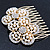 Bridal/ Wedding/ Prom/ Party Gold Plated Clear Austrian Sculptured Double Flower Crystal/Simulated Pearl Hair Comb - 75mm - view 2