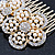 Bridal/ Wedding/ Prom/ Party Gold Plated Clear Austrian Sculptured Double Flower Crystal/Simulated Pearl Hair Comb - 75mm - view 4