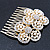 Bridal/ Wedding/ Prom/ Party Gold Plated Clear Austrian Sculptured Double Flower Crystal/Simulated Pearl Hair Comb - 75mm - view 5