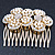 Bridal/ Wedding/ Prom/ Party Gold Plated Clear Austrian Sculptured Double Flower Crystal/Simulated Pearl Hair Comb - 75mm - view 6