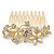 Bridal/ Wedding/ Prom/ Party Gold Plated Clear Crystal and Light Cream Simulated Pearl Floral Hair Comb - 50mm - view 2