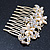 Bridal/ Wedding/ Prom/ Party Gold Plated Clear Crystal and Light Cream Simulated Pearl Floral Hair Comb - 50mm - view 6